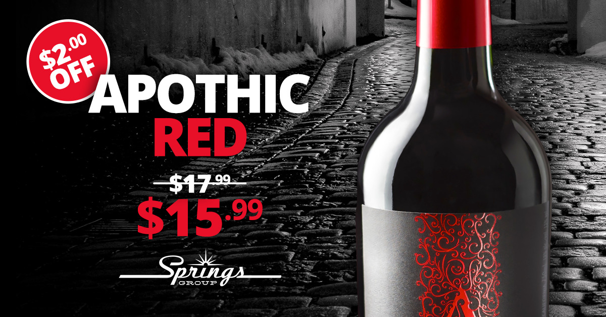 Apothic Red wine sale promotions